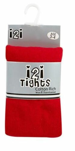 2 Pairs of Girls I2I Cotton Rich Knitted School Tights Ages 2-12