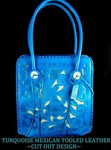 a9478a717 Image is loading Mexican-Well-Designed-TURQUOISE-Tooled-Leather-Cut-Out-