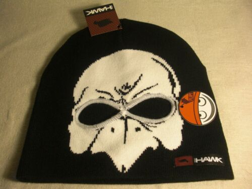 Tony Hawk Boys Black Knit Beanie Cap w// White Hawk /& Eye Holes Cut-Outs NWT