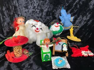 Mixed-Lot-Of-Ugly-Vintage-Christmas-Ornaments-Felt-Angel-Kewpie-Fake-Popcorn
