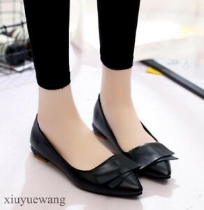 46b010b021bd2 New Womens Pointy toe Ballet Flats Slip on Loafers Casual Pumps ...
