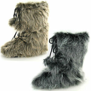Men-039-s-Pull-On-Fur-Effect-Yeti-Style-Fashion-Boots-With-Pompoms-Reflex-A3014