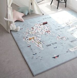 World map area rug large sized carpet decor kids nursery play room image is loading world map area rug large sized carpet decor gumiabroncs