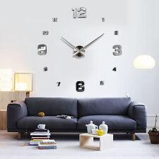 Modern Large Number Wall Clock DIY 3D Mirror Sticker Living Room Home Decor  Art