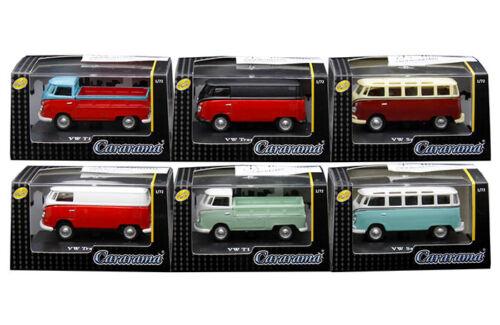 Cararama Volkswagen Samba, Samba, T1 Pickup and Transporter 1/72 Set of 6 cars