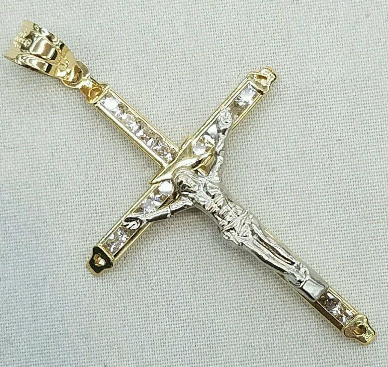 14K Yellow gold gold cross pendant charm 2 inch long