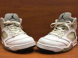 huge discount 4a47d 0104c Details about Nike Air Jordan 5 V Retro White/Metallic Silver/Black  136027-130 Men's Size 9.5