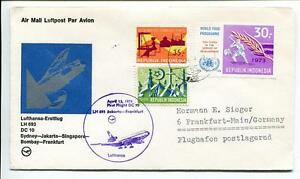 Bon CœUr Ffc 1974 Lufthansa Primo Volo Lh 693 Dc-10 - Sydney Jakarta Bombay Francoforte Achat SpéCial