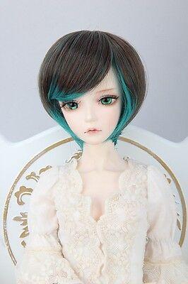 "BJD Doll Hair Wig 7-8"" 1/4 SD DZ DOD LUTS Black Green Short  Straight"