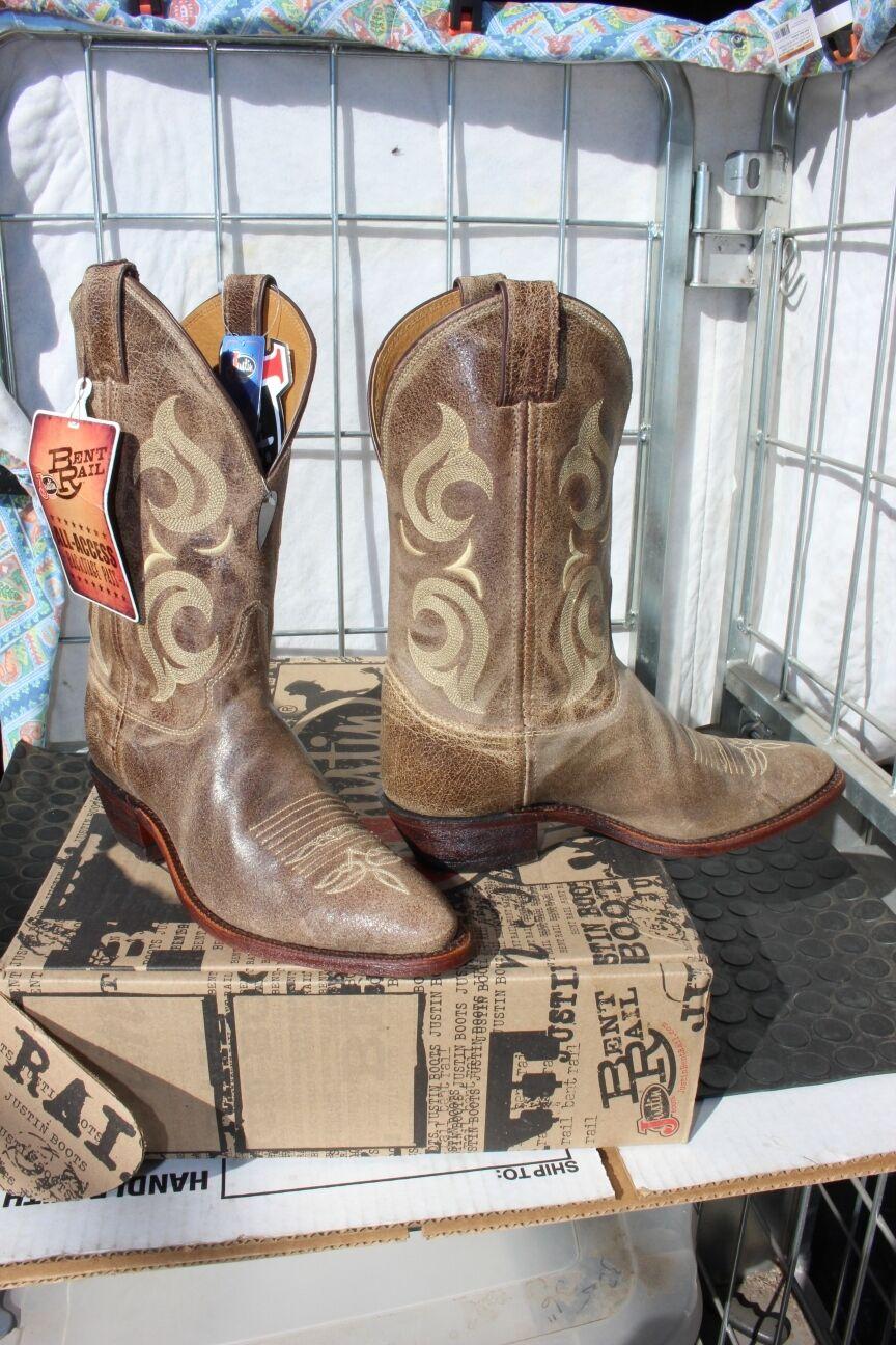 38-77 New  Justin Bent Rail MENS 8.5D  Cafe Desperado western boots was 179.00