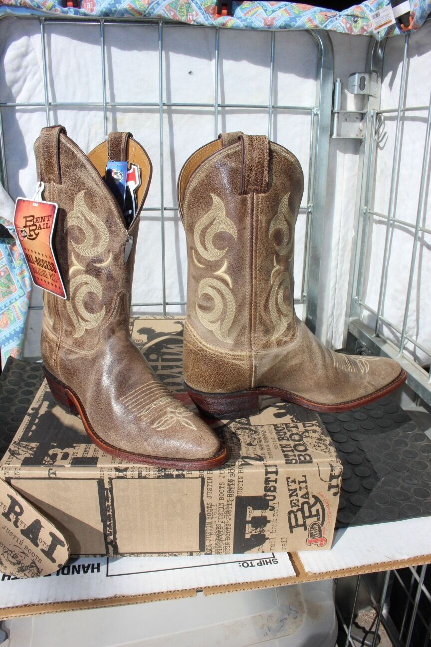 38-78 New  Justin Bent Rail MENS 8.5EE  Cafe Desperado western boots was 179.00