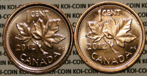 UNC pair of 2 penny magnetic//non-magnetic from RCM roll Canada 2012 1 cent coin