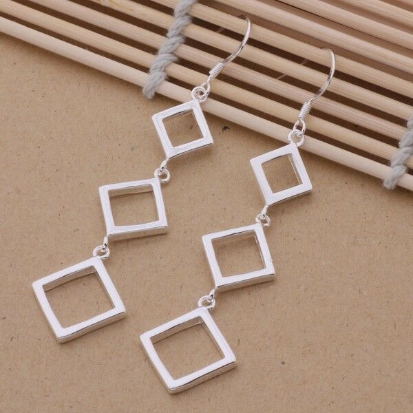 Earrings Square Drop Dangle Ladies 925 Sterling Silver Retro Fashion Casual Gift
