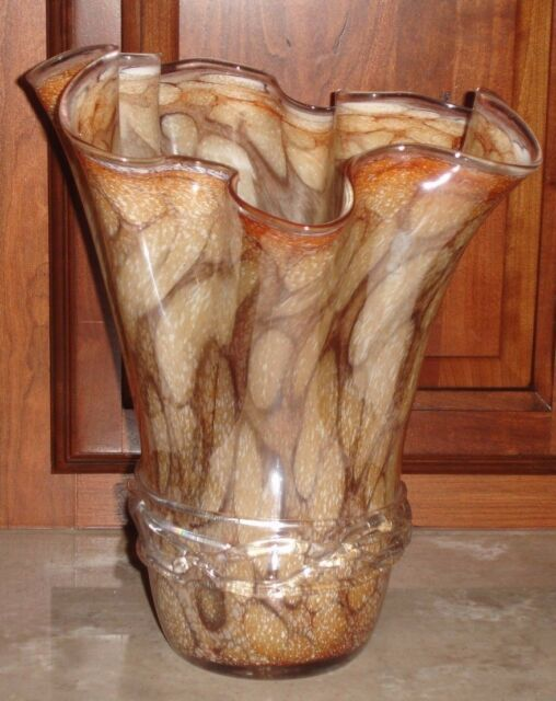Tortoise Shell Handkerchief Vase Italian Art Glass 12. 5 inch Hand Blown