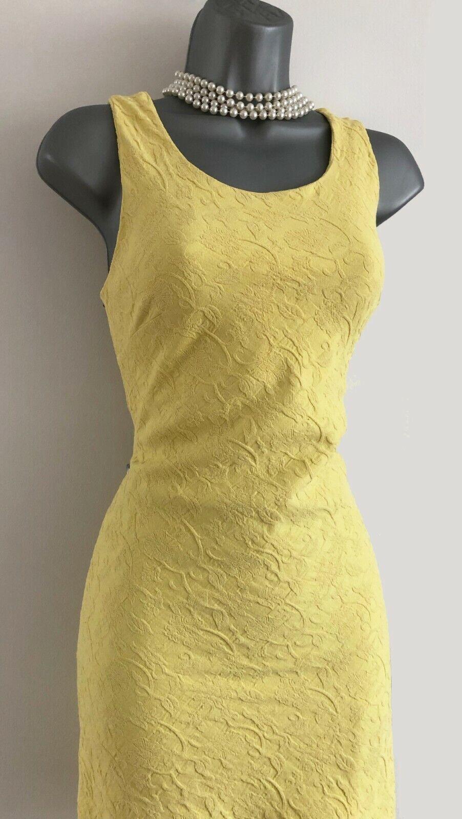 KAREN MILLEN 10 Vintage Gelb Jacquard Fit & Flare Everyday Prom Mini Dress 38