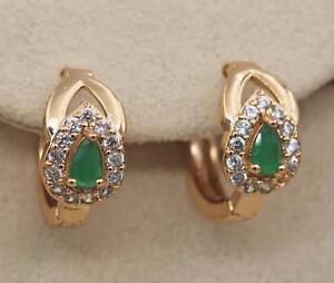 18K-Gold-Filled-2-Layer-Waterdrop-Peridot-Jade-Topaz-Hollow-Women-Earrings
