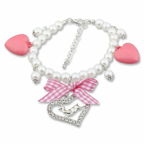 reich verziertes Trachten Armband mit Herzanhängern Oktoberfest Perlenarmband