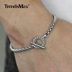 4mm-Mens-Silver-Stainless-Steel-Box-Link-Chain-Bracelet-Toggle-Jewelry-8-034-9-034