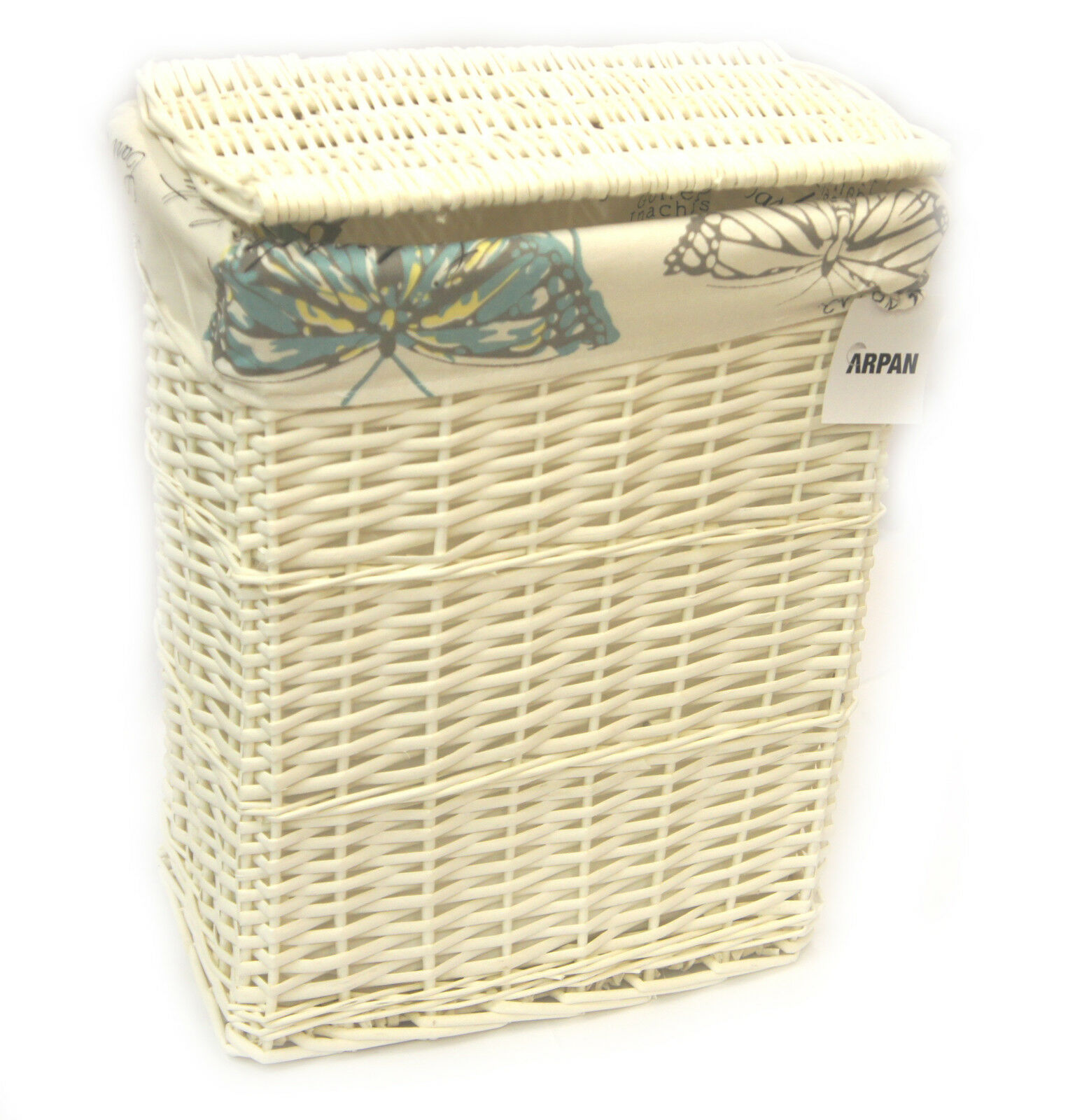 arpan medium white wicker laundry basket with lining vintage butterfly 9358 mbt ebay. Black Bedroom Furniture Sets. Home Design Ideas