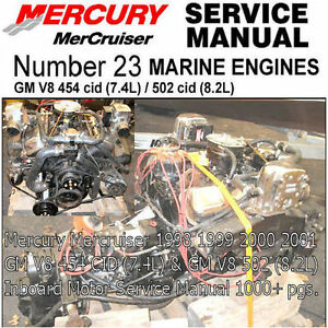 mercury mercruiser service manual gm 454 v8 gm 502 8 2l inboard rh ebay com Mercruiser 5.0 Oil Change