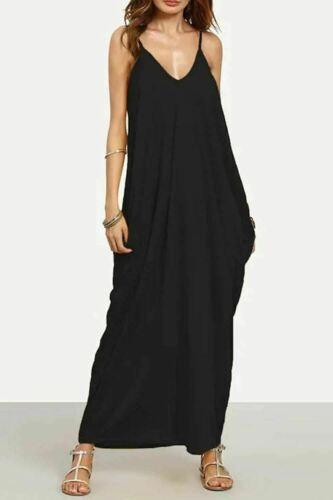 Femme Débardeur fines lanières italien Drapé Lagenlook Baggy Loose Robe Longue