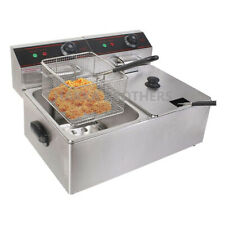 Hakka 12l Commercial Electric Deep Fryer 2 Tank With Basket Countertop Fryer