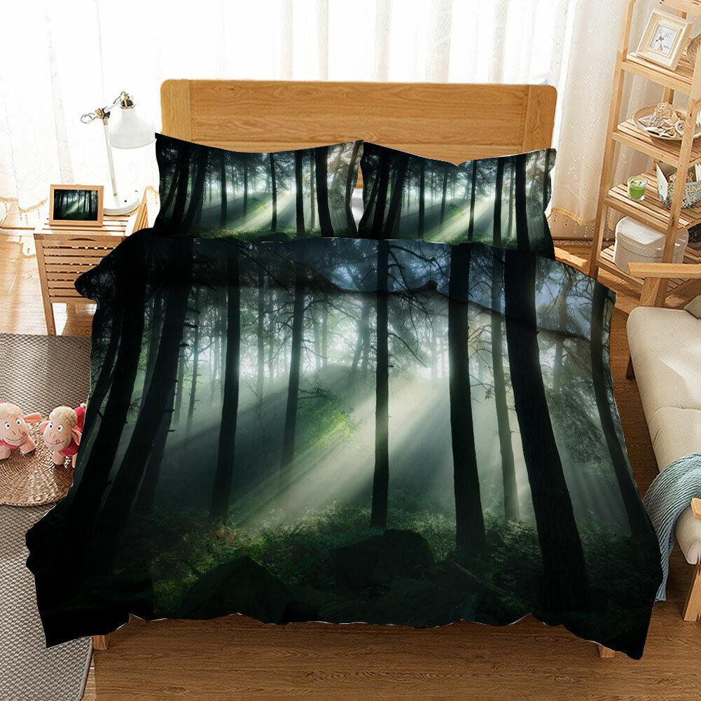 Great Misty Forest 3D Quilt Duvet Doona Cover Set Single Double Queen King Print
