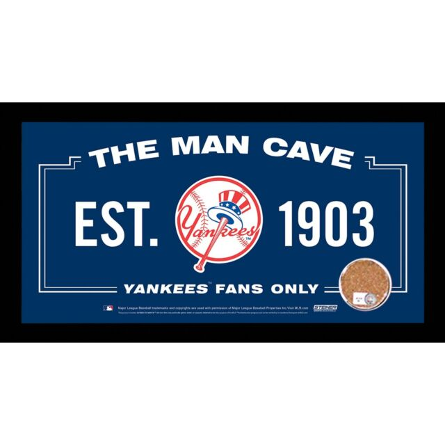 New York Yankees Man Cave Sign 6x12 Framed Photo With Authentic Game-Used Dirt