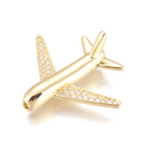 10 Brass Paved Cubic Zirconia Metal Beads Airplane Nickel Free Gold Plated 26mm