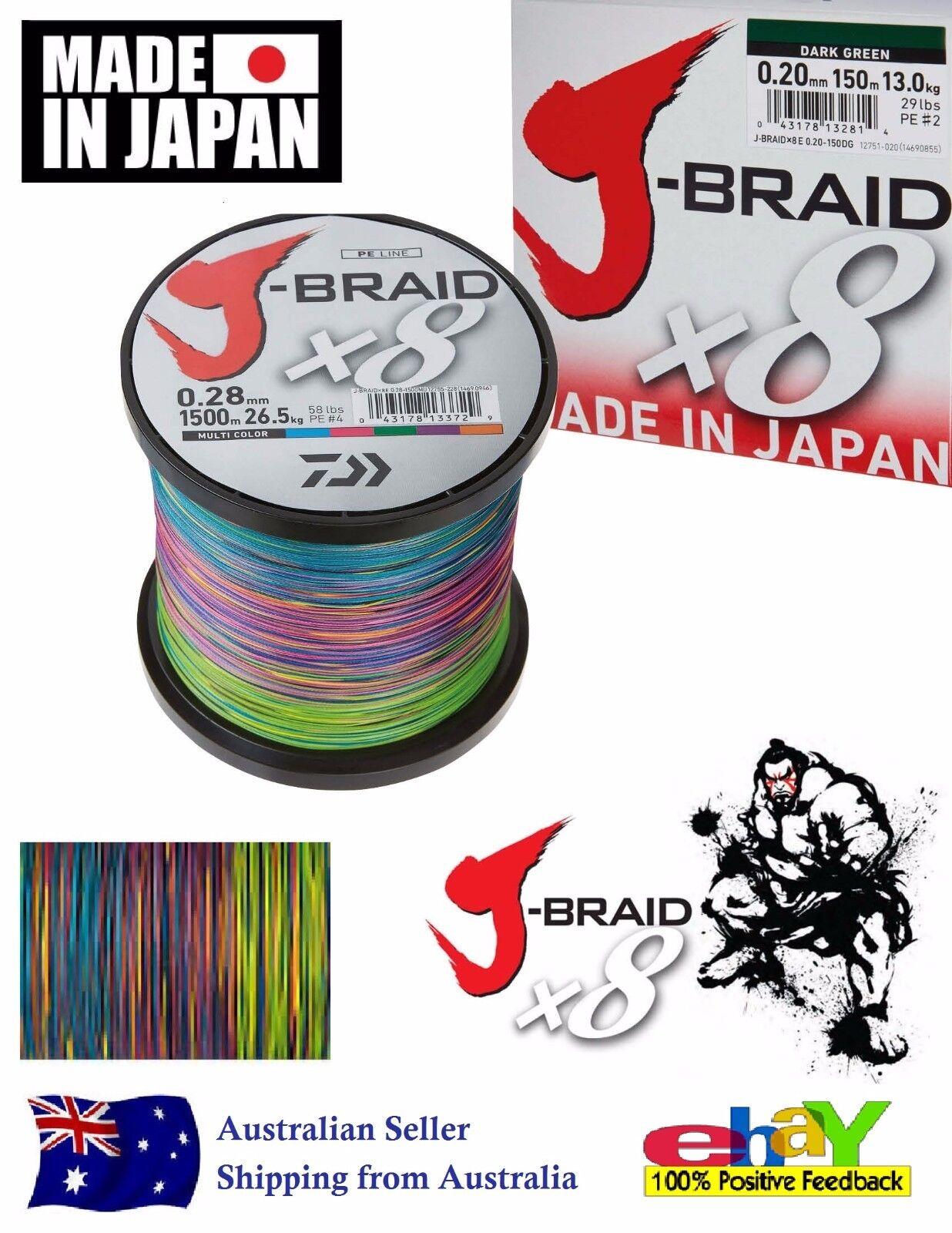 DAIWA J-BRAID Fishing Line 1500 500 300m (All Colours Available)