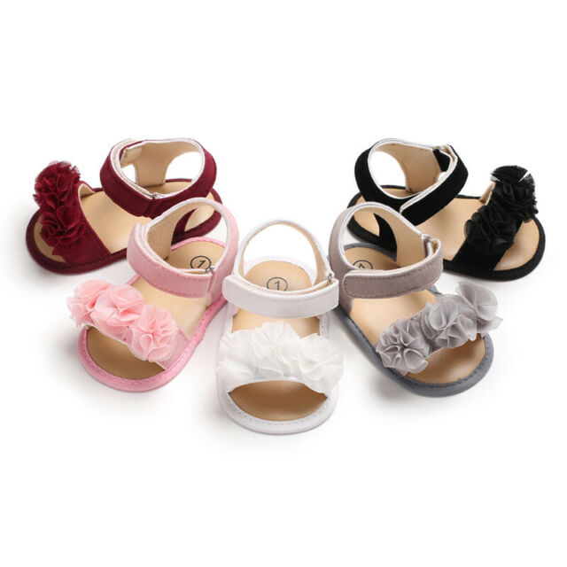 1Pair Newborn Baby Girl Soft Sole Shoes Infant Toddler Floral Sandals Crib Shoes