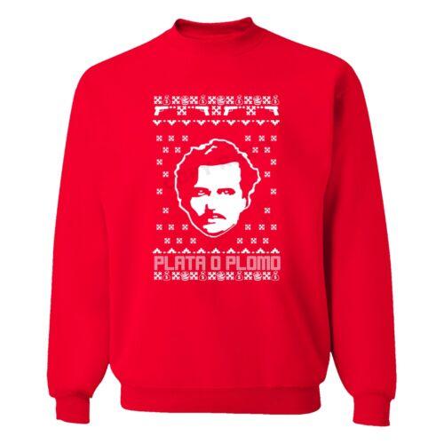 UGLY CHRISTMAS Sweater Men Women Sweatshirt RED Escobar Narcos Plata o plomo
