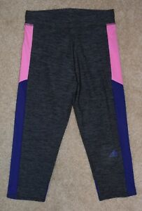 f229d3116f4c New Girls Adidas Athletic Pants Gray Climalite Capris Leggings Large ...