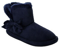 WOMENS LADIES LUXURY WINTER WARM FUR LINED THERMAL ANKLE BOOTIES SLIPPERS SHOES