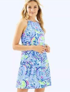 NWOT-Lilly-Pulitzer-Margot-Dress-Peri-Pinch-Dress-Size-L-Large