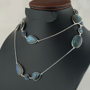 Vintage Blue Fire Labradorite Sterling Silver Pendant and Chain