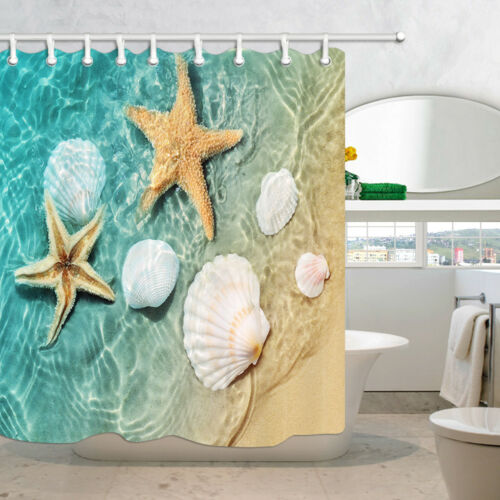 Sea Shell Beach Starfish Waterproof Polyester Fabric Bath Shower Curtain /& Hooks