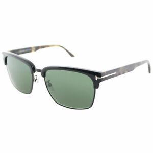 18322d6f19 Tom Ford River TF 367 02B Matte Black Metal Square Sunglasses Grey ...