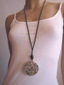 zahlreich in der Vielfalt Factory Outlets hochwertige Materialien Details zu Modekette Damen Hals Kette Leder Lagenlook lang XL Silber Bodhi  Baum Buddha