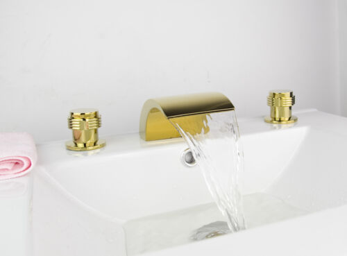 RE Gold Deck Mounted Brass 3PCS Bathroom Sink Faucet Bathtub Tap Mixer