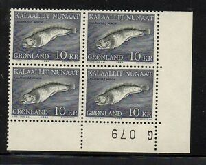 Greenland-Sc-138-1985-10-kr-Fish-stamp-plate-number-Block-of-4-mint-NH