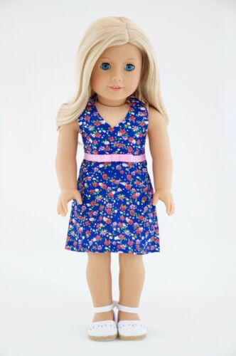 Summer Dress Blue Pink Flowers American Made Doll Clothes For 18 Inch Girl Dolls