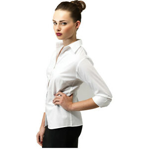 9f0c68ef3b4 Details about Premier PR305 Women s 3 4 sleeve poplin blouse Plain Work  Shirt Sizes 6-26