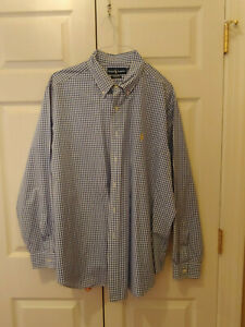 Men-Ralph-Lauren-Polo-Blue-Check-Gingham-Classic-Fit-Button-Down-Shirt-Size-XXL
