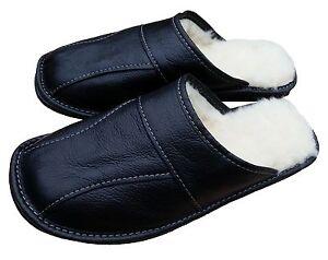 Mens Black Leather Sheepskin Slippers Warm Winter Slip On Moccasins size 7-13