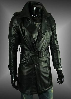 NEW! Men's Black Double Breasted Lapel Long Paragraph Leather Trench Coat Jacket