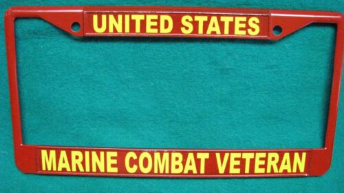 License Plate Frame-UNITED STATES//MARINE COMBAT VET-Polished ABS-Black #3338YR