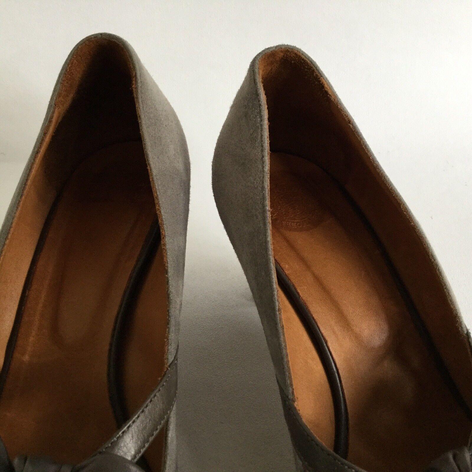 HOBBS NW3 Grau Suede Front Leder Peep Toe Bow Front Suede Court Schuhe Cone Heel UK 4 EU 37 cd36b5