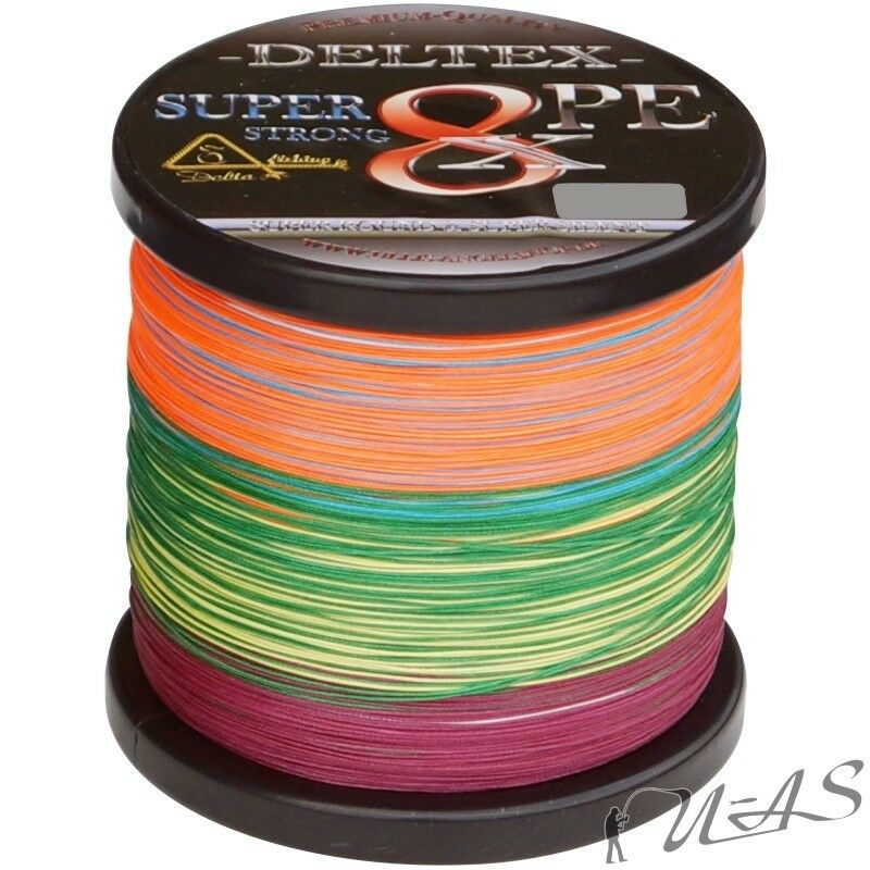 DELTEX SUPER STRONG MULTICOLOR 0.15MM 1000M 8 FACH GEFLOCHTENE ANGELSCHNUR SHA