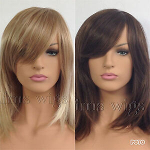 Details Zu Ladies Womens Two Tone Brown Two Tone Blonde Shoulder Length Face Frame Wig
